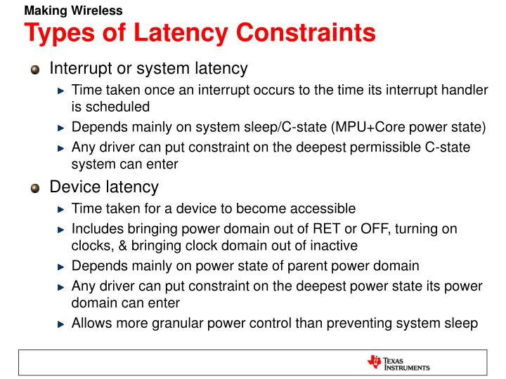 Types of latency constraints