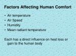 factors affecting human comfort