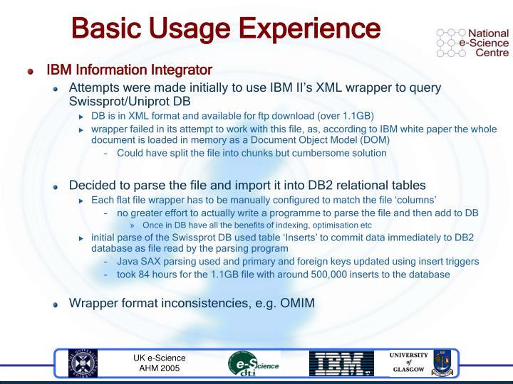 Basic Usage Experience