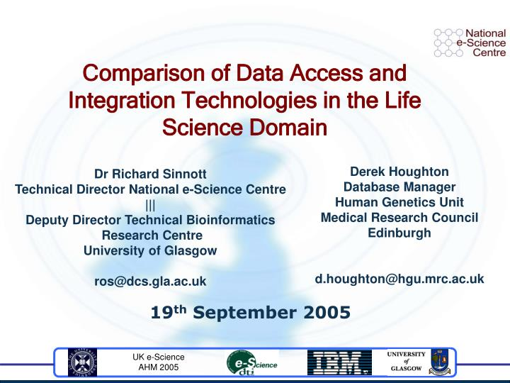 Comparison of data access and integration technologies in the life science domain