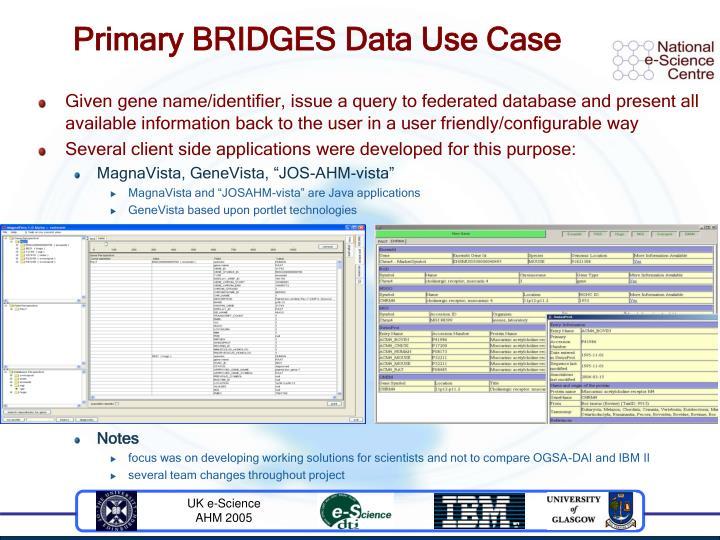 Primary BRIDGES Data Use Case