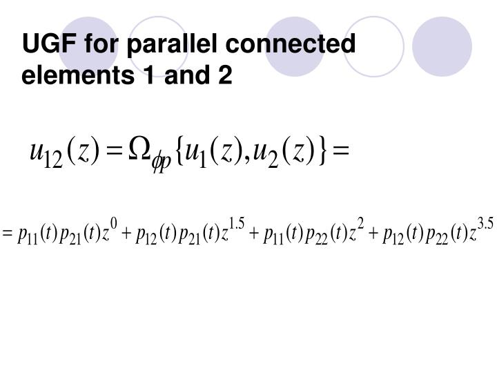 UGF for parallel connected elements 1 and 2