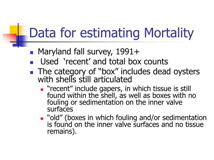 Data for estimating Mortality