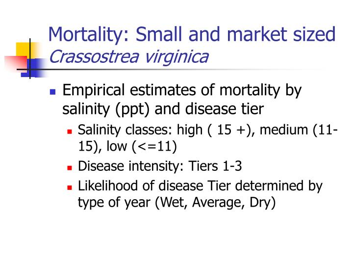 Mortality: Small and market sized