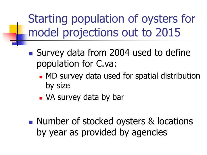 Starting population of oysters for model projections out to 2015