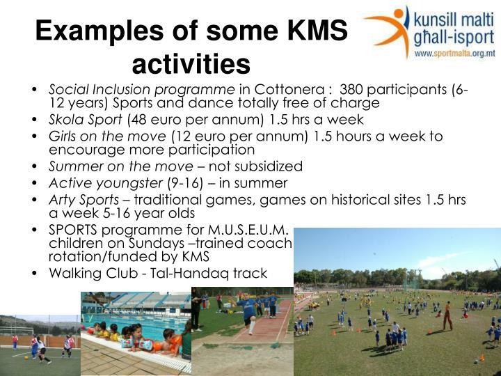 Examples of some KMS activities