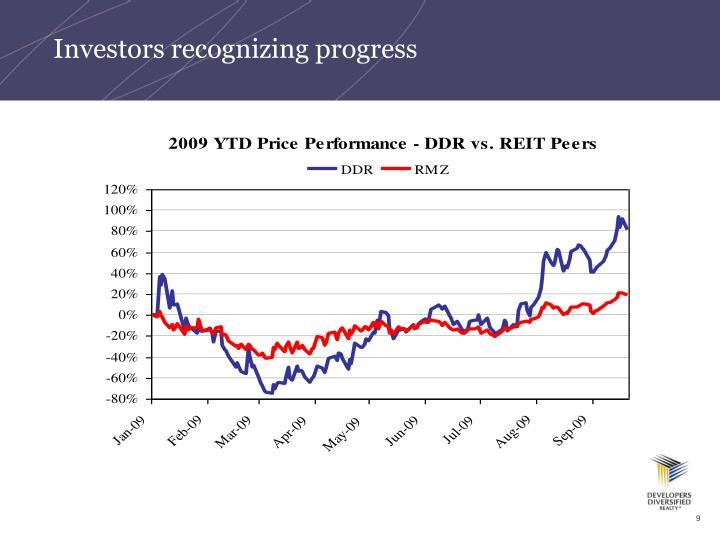 Investors recognizing progress
