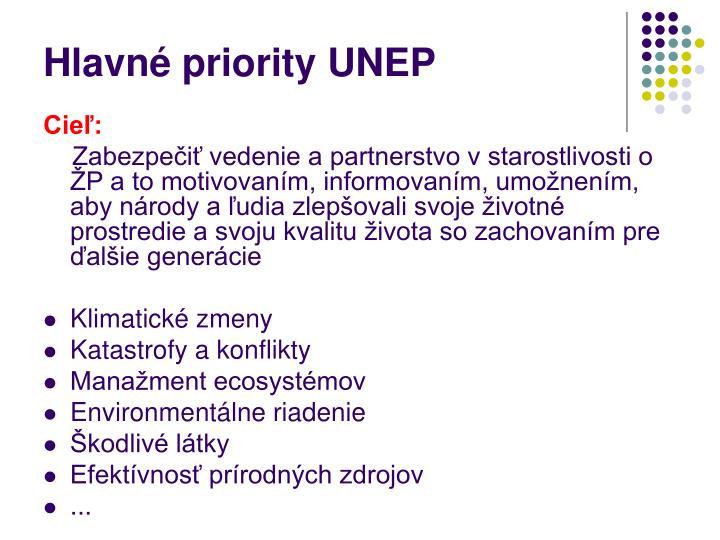 Hlavné priority UNEP