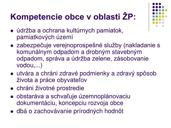 Kompetencie obce v oblasti ŽP: