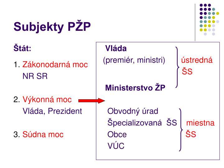 Subjekty p p