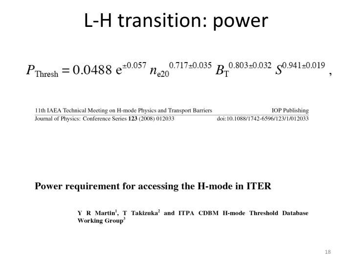 L-H transition: power