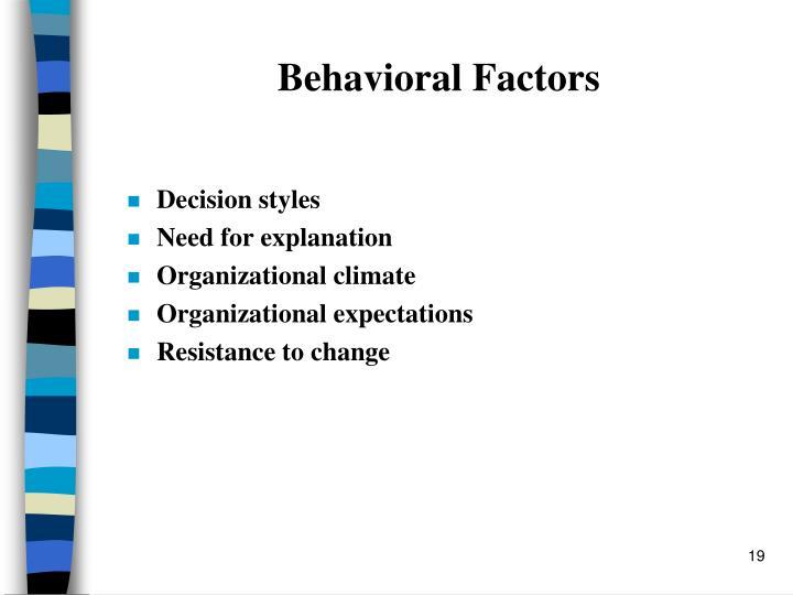 Behavioral Factors