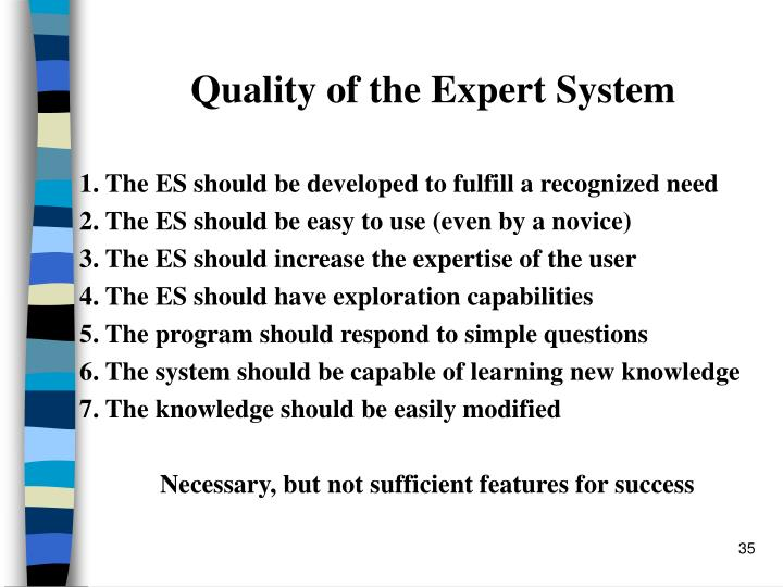 Quality of the Expert System