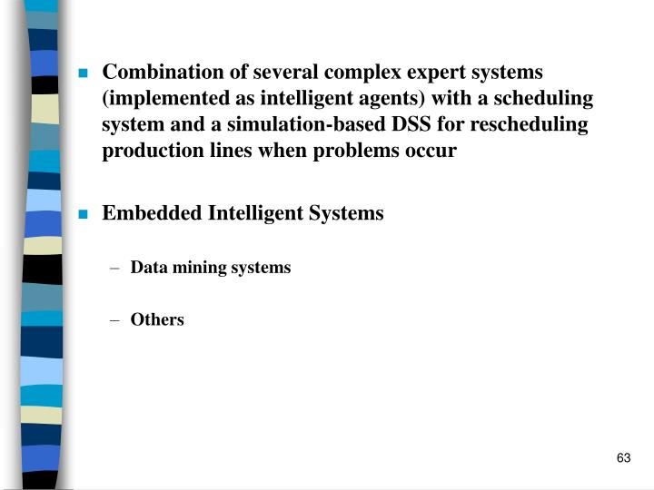 Combination of several complex expert systems (implemented as intelligent agents) with a scheduling system and a simulation-based DSS for rescheduling production lines when problems occur