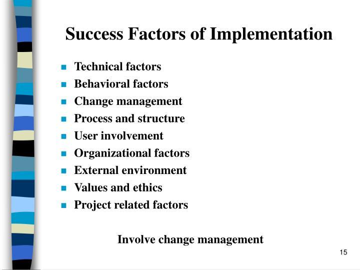 Success Factors of Implementation