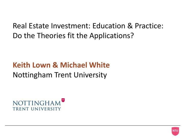 Real Estate Investment: Education & Practice: