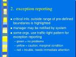 2 exception reporting
