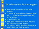 spreadsheets for decision support