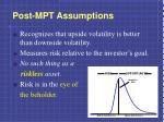 post mpt assumptions1