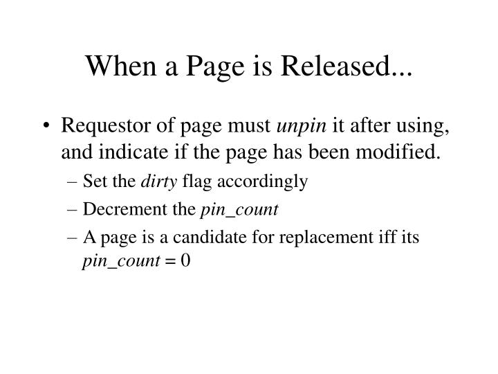When a Page is Released...