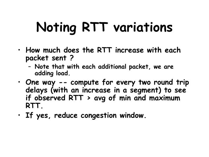 Noting RTT variations
