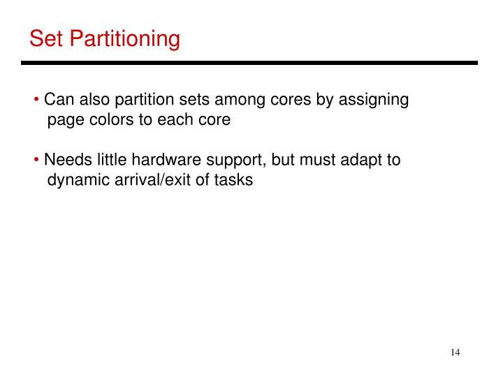 Set Partitioning