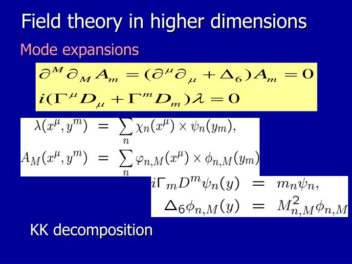 Field theory in higher dimensions