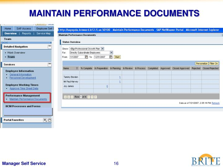 MAINTAIN PERFORMANCE DOCUMENTS