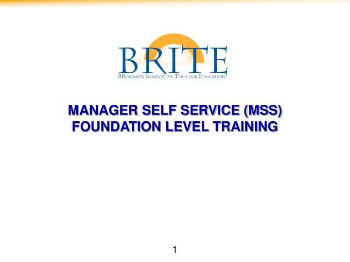 Manager self service mss foundation level training