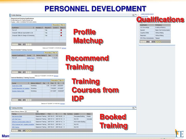 PERSONNEL DEVELOPMENT