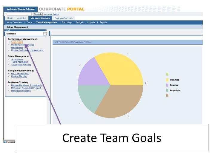 Create team goals