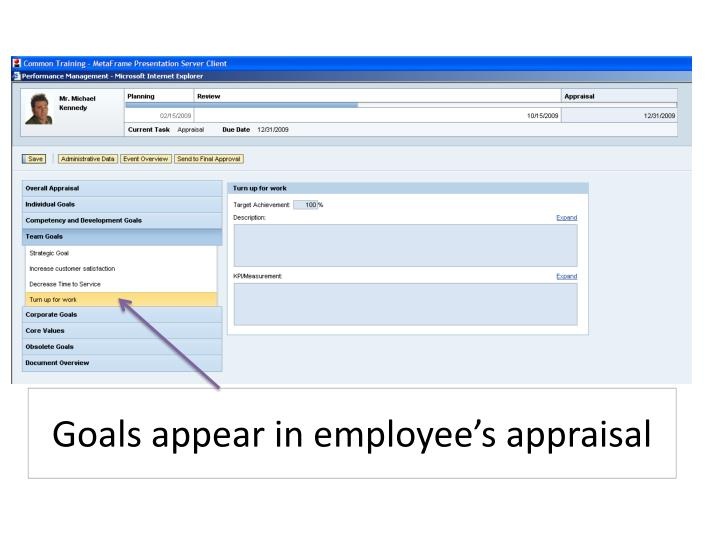 Goals appear in employee's appraisal