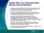 adding msr to a telecom cable makes a big difference