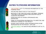 duties to provide information