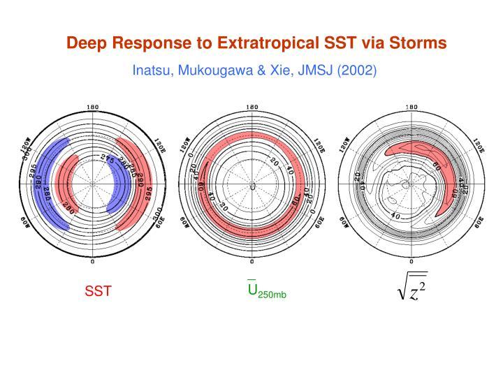 Deep Response to Extratropical SST via Storms