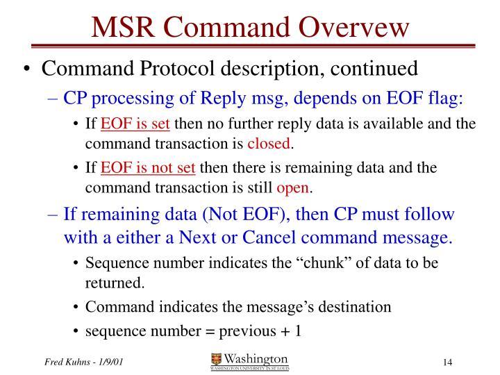 MSR Command Overvew