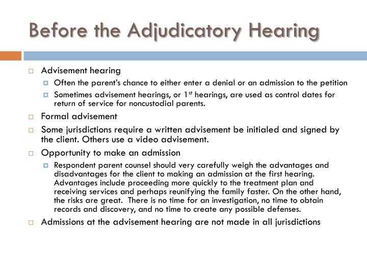 Before the adjudicatory hearing