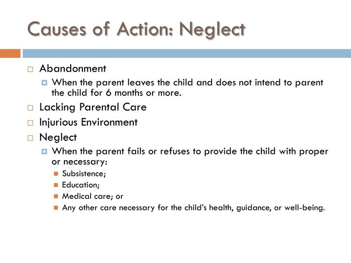Causes of Action: Neglect