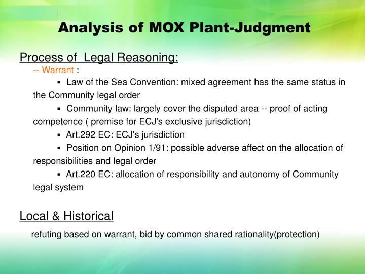 Analysis of MOX Plant-Judgment