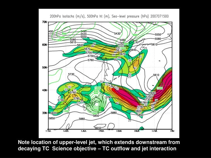 Note location of upper-level jet, which extends downstream from decaying TC  Science objective – TC outflow and jet interaction