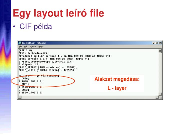 Egy layout leíró file