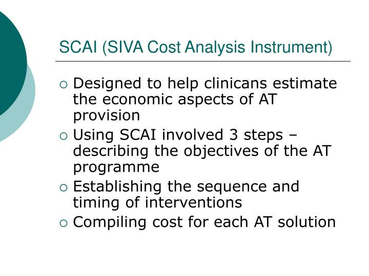 SCAI (SIVA Cost Analysis Instrument)
