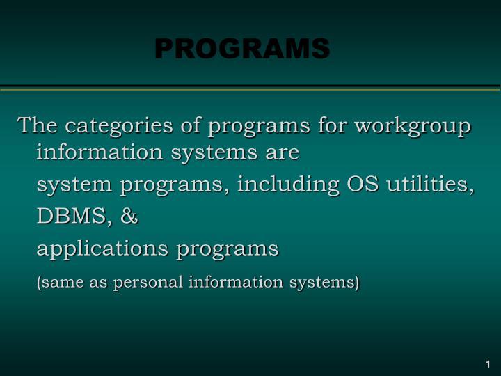 programs n.