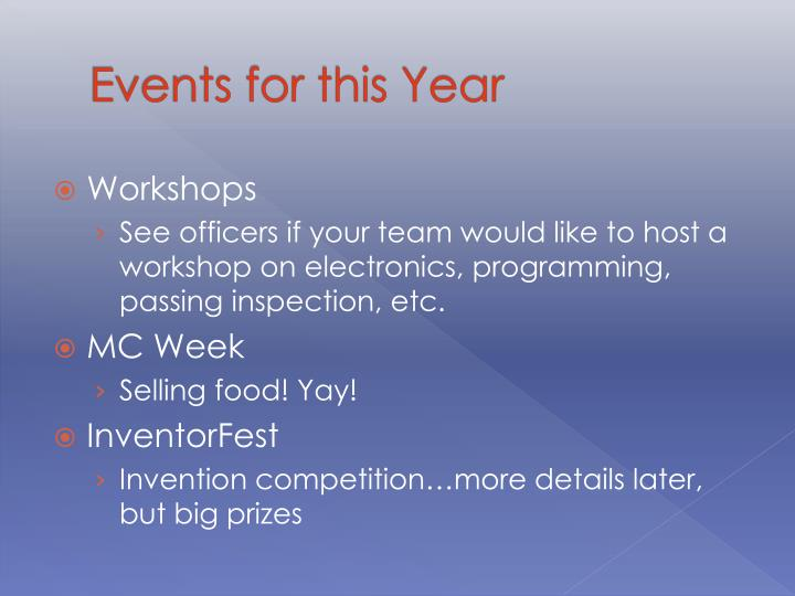 Events for this Year