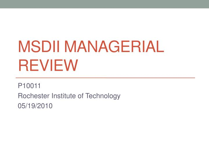 msdii managerial review n.