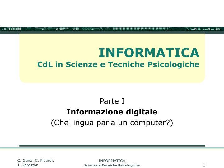informatica cdl in scienze e tecniche psicologiche n.