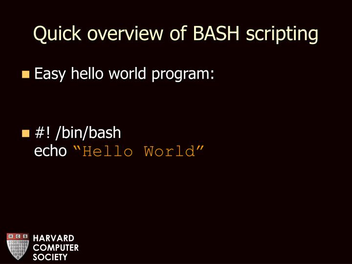 Quick overview of BASH scripting