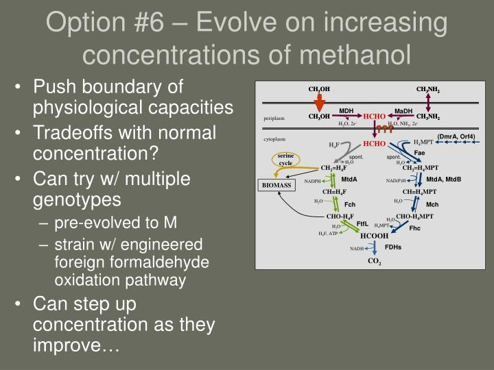 Option #6 – Evolve on increasing concentrations of methanol