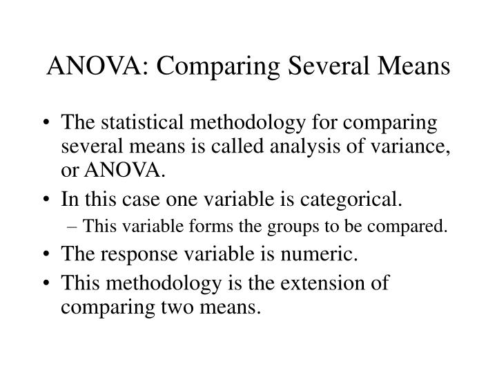 Anova comparing several means