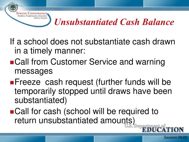 Unsubstantiated Cash Balance